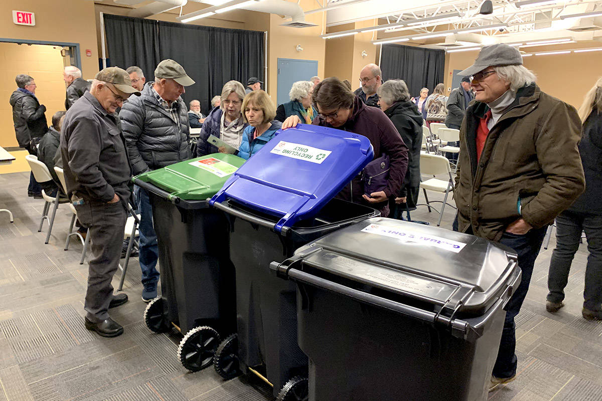 About 80 people showed up for a Waste Wise presentation by the District of Hope and the Fraser Valley Regional District in November to learn more about the new garbage pick up in Hope. The containers shown in this photo will begin to arrive at homes in Hope this week                                 Jessica Peters/ Hope Standard file